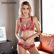 2017 Lady Lace Black Push Up Bra Set Top A B C Cups Underwear Women Lingerie Sexy Panties And Bra Sets RED Bra set