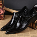 Christia Bella New Fashion Men Genuine Leather Shoes Pointed Toe Men's Formal Dress Shoes Business Wedding Flats Shoes Big Size