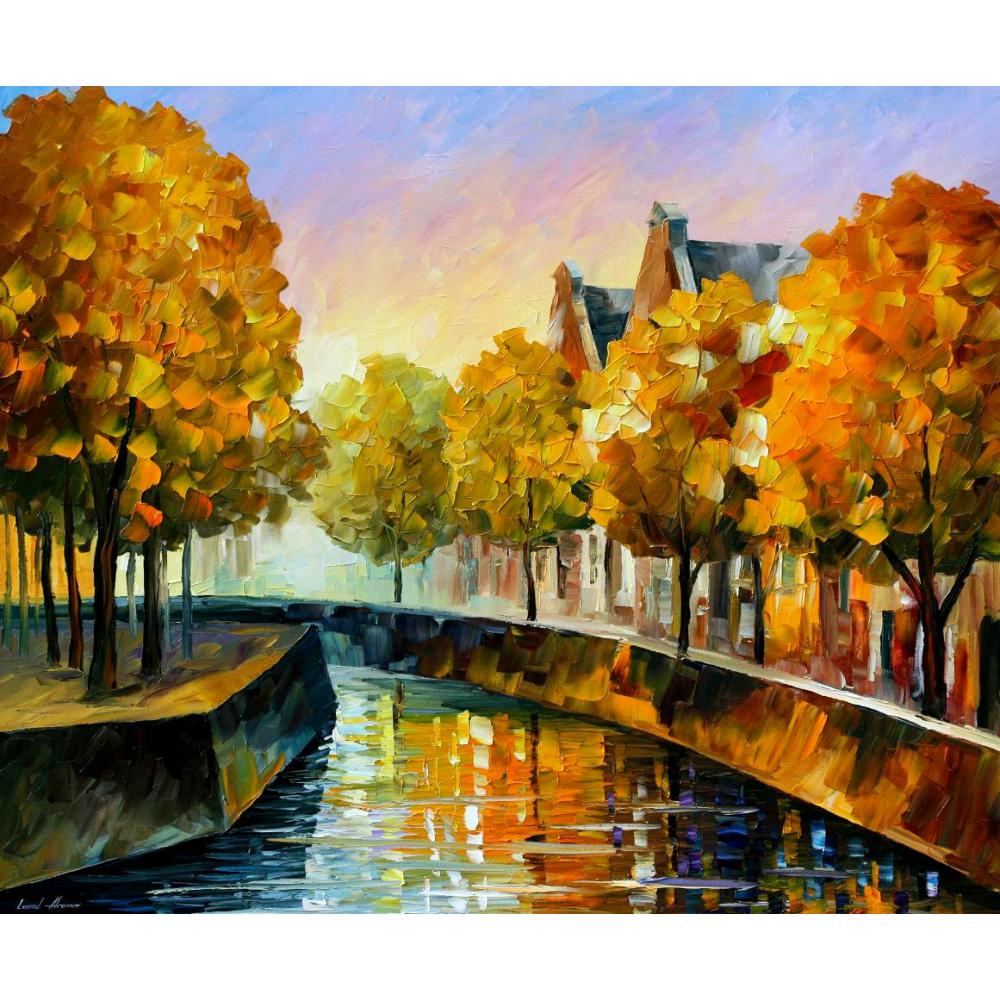 Contemporary art fall in amsterdam hand painted knife paintings landscape oil on canvas High qualityContemporary art fall in amsterdam hand painted knife paintings landscape oil on canvas High quality