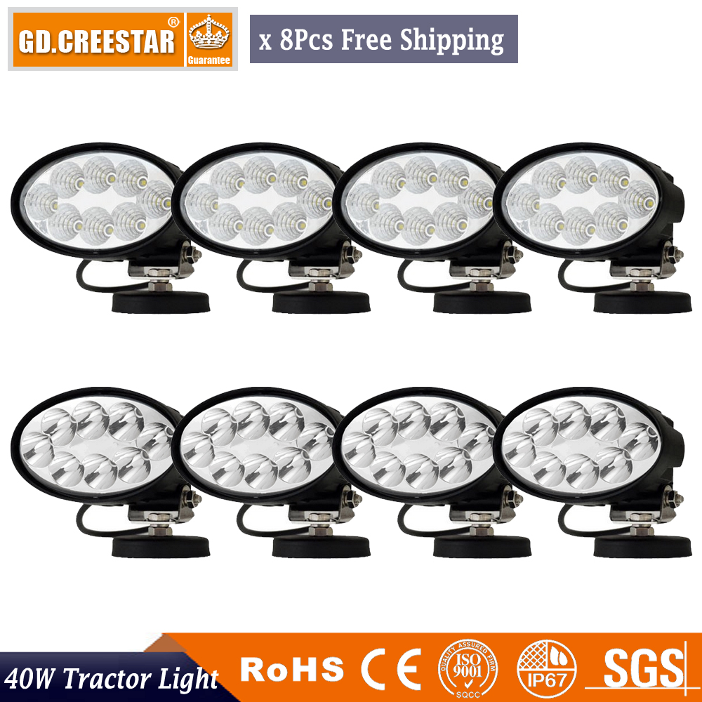 40W LED შუქის რეგულირება 360Degree ფრჩხილის 8pcs 12V LAMP JOHN DEERE MASSEY CASEIH NEW HOLLAND DEUTZ FAHR Kubota LOVOL