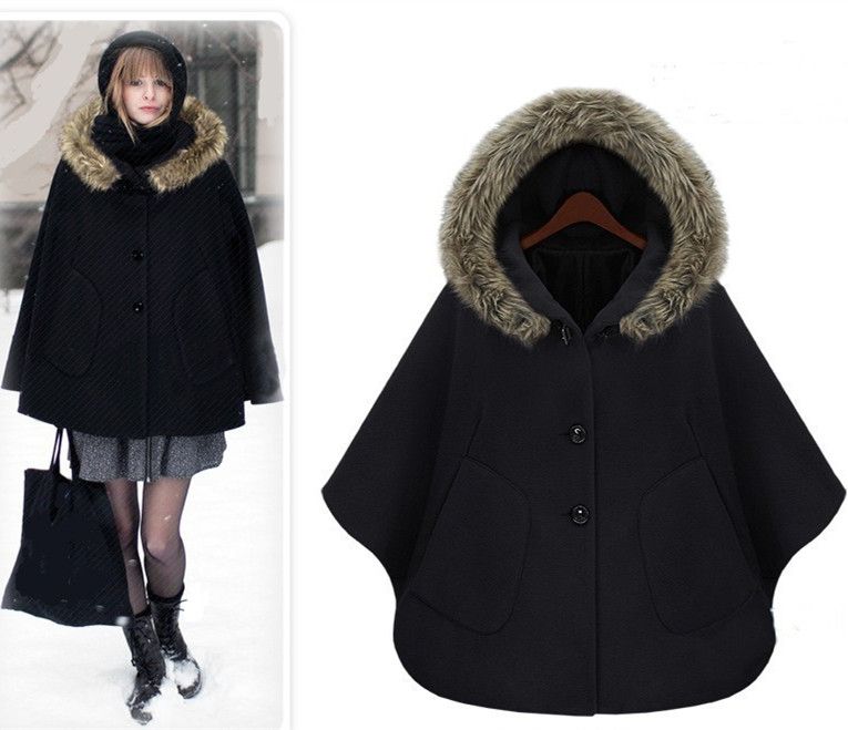 uk brand new 2018 fall winter poncho gossip girl cashmere fur hooded cape coat women cloak. Black Bedroom Furniture Sets. Home Design Ideas