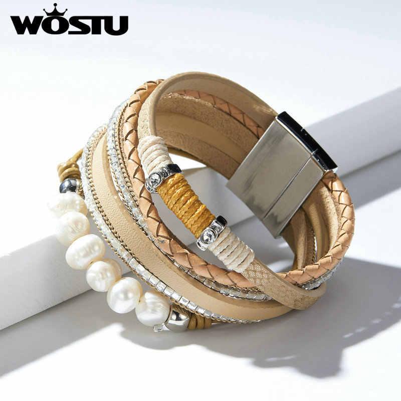 WOSTU 2019 w stylu Vintage skóra wielowarstwowa perły pasek bransoletka dla kobiet mężczyzn Party łańcucha Link bransoletki moda biżuteria ZBC0363