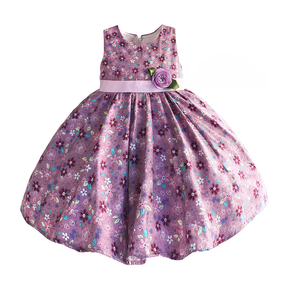Hetiso Baby Girls Dresses Purple Floral Kids Clothes Baby Sleeveless Birthday Party Princess Dress Size 6M-4T(China)