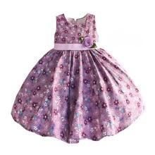 Hetiso Baby Meisjes Jurken Paars Bloemen Kinderkleding Baby Mouwloze Verjaardagsfeestje Prinses Jurk Maat 6 M 4 T