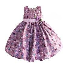 Hetiso תינוק בנות שמלות סגול פרחוני ילדים בגדי תינוק ללא שרוולים מסיבת יום הולדת נסיכת שמלת גודל 6 M 4 T