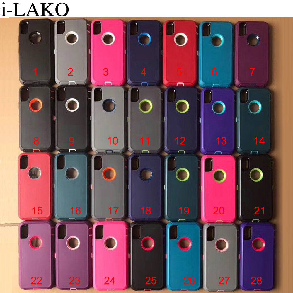 30pcs/lot For iPhone X 8 7 6S Plus SE 5S Case 3 in 1 Anti Shock TPU+PC Heavy Duty Armor Hard Case For iPhone XR XS MAX-in Half-wrapped Cases from Cellphones & Telecommunications    1