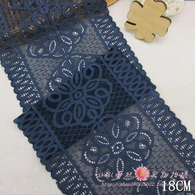 5 Meterslot 18cm Width Super Wide Elastic Lace Fabric Deep Blue DIY Garment Accessories Sewing Swiss Trim Wedding Lace Material