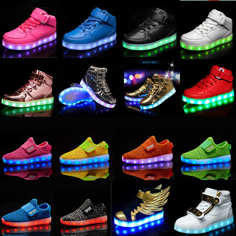 Boy Fashion Shoes Kids Led Usb Charging Glowing Sneakers Children Hook Loop Fashion Luminous Shoes for Girls Boys Skate Shoes(China)