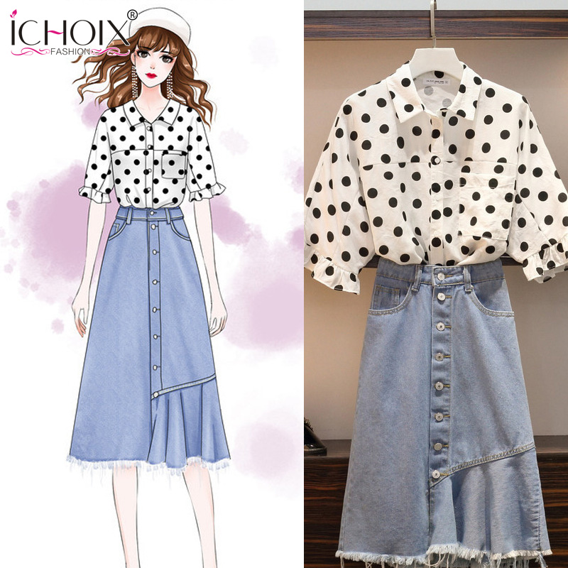 L-4XL 2 Pieces Set Women Summer Korean Style Two Polka Dot Shirt And Denim Skirt Sets Plus Size Beach Outfit