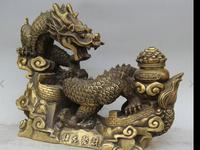 Old China Brass Fengshui Spirit Dragon On Great Wall Treasure Bowl Statue .