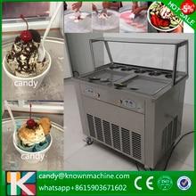 Free ship DHL 220v/110v double square pan fried fry ice cream machine 1600W two compressor ice cream roll machine R410a