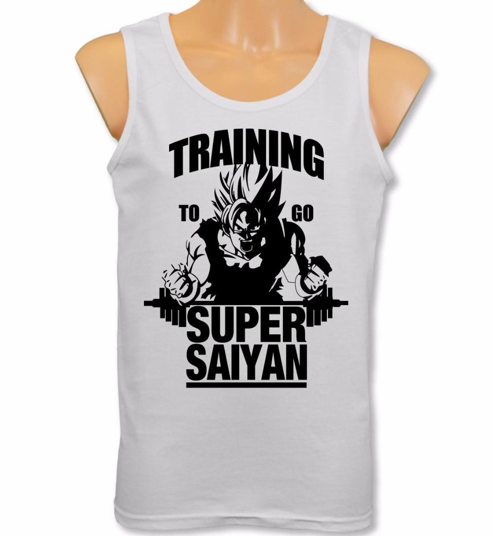 Mens Vest Training To Go Super Saiyan   Tank     Tops   Dragon Ball Z Gym Bodybuilding Goku   Tops   Tee Shirt Plus Size S-XXL