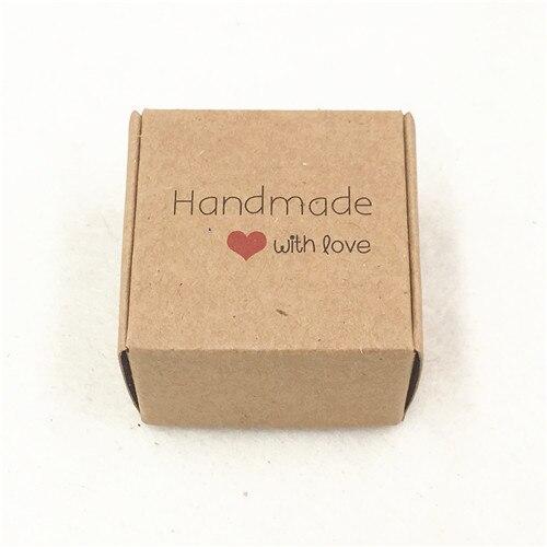 50 шт 4*4*2,5 см самолет коричневый подарочная упаковка крафт-бумага упаковочная коробка ручной работы Любовь Свадьба \ ремесла \ торт \ мыло ручной работы \ коробки для конфет - Цвет: handmade