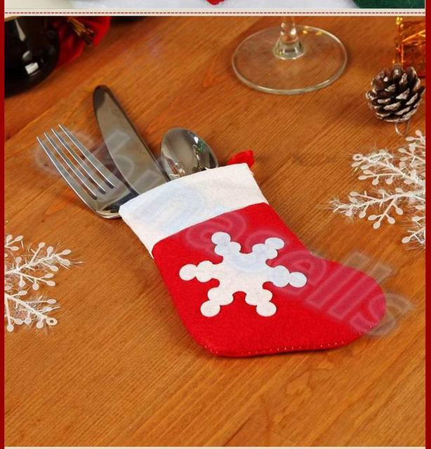 6pcs Hotel restaurant Xmas Decor socks Tableware Holder Pocket knife fork Dinner Cutlery Bag Party Christmas & 6pcs Hotel restaurant Xmas Decor socks Tableware Holder Pocket knife ...