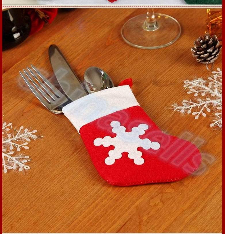 6pcs Hotel restaurant Xmas Decor socks Tableware Holder Pocket knife fork Dinner Cutlery Bag Party Christmas table decoration