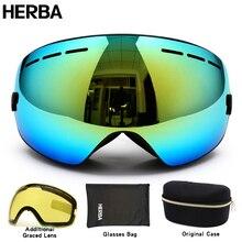 Новый HERBA бренд лыжные очки двухместный UV400 анти-туман большой лыжная маска очки лыжи мужчины женщины снег сноуборд очки HB3-3