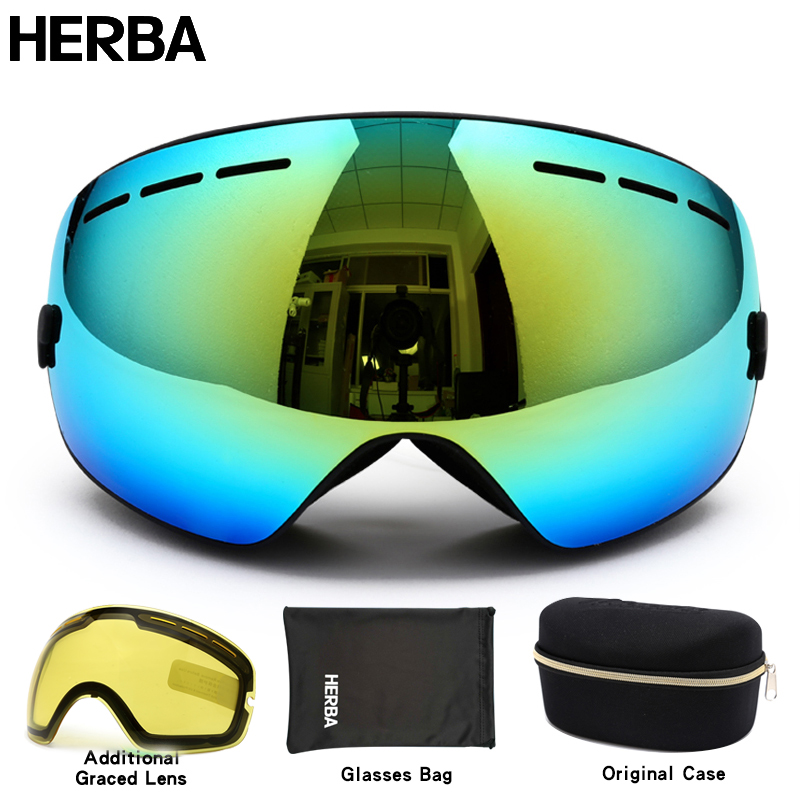 New HERBA  brand ski goggles double UV400 anti-fog big ski mask glasses skiing men women snow snowboard goggles HB3-3 quick release genuine leather watch band butterfly buckle strap for citizen men women wrist bracelet black brown 18mm 20mm 22mm
