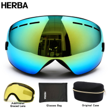 New HERBA  brand ski goggles double UV400 anti-fog big ski mask glasses skiing men women snow snowboard goggles HB3-3