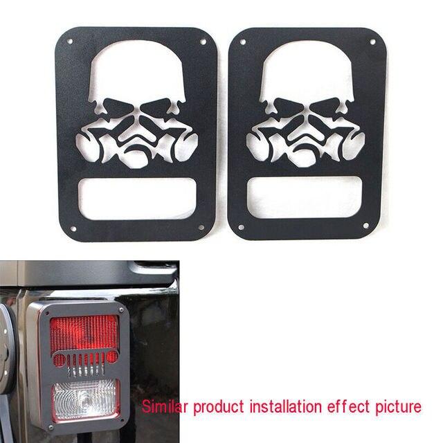 BBQ@FUKA 2x Skeleton Skull Rear Tail Light Guards Metal Protector Cover Fit  For Jeep Wrangler JK 07-2015