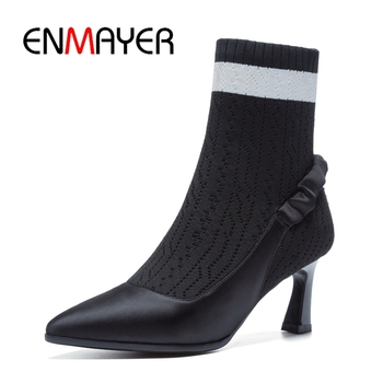 ENMAYER  Pointed Toe  Slip-On  Basic  Thin Heels  Women Shoes  Zapatos De Mujer  Boots Women  Size34-40 ZYL1866