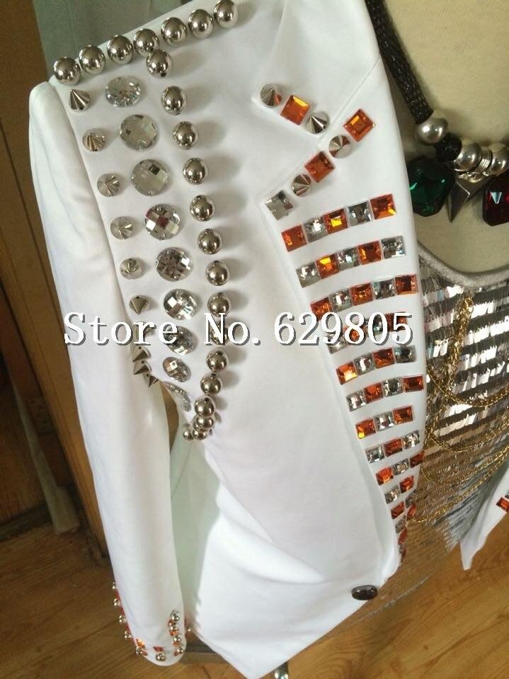 Blanc Discothèque Jazz Perles De Cristal Mâle Taille La Performance Mode Manteau Survêtement Plus Blazer Bar Costumes Hommes Rivets Chanteur 6y7bgfY