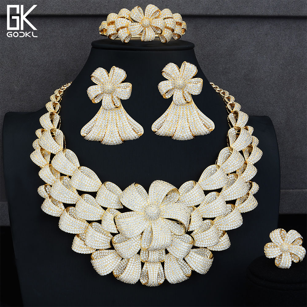 GODKI Super Luxury Flower Bicolor Jewelry Set Women Wedding Cubic Zirconia Dubai Gold Necklace Earring Bangle Ring Jewelry SetsGODKI Super Luxury Flower Bicolor Jewelry Set Women Wedding Cubic Zirconia Dubai Gold Necklace Earring Bangle Ring Jewelry Sets