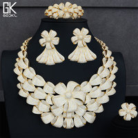 GODKI Super Luxury Flower Bicolor Jewelry Set Women Wedding Cubic Zirconia Dubai Gold Necklace Earring Bangle Ring Jewelry Sets