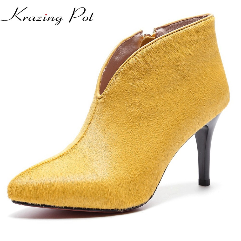 Krazing Pot horsehair nightclub thin high heels pointed toe rome style solid boots women superstar sexy party lady ankle boots L krazing pot genuine leather sheep skin thick high heels square toe zipper boots women superstar party western mid calf boots l17