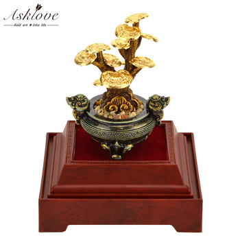 Feng shui Fortune tree 24K Gold foil ornaments Lucky tree Artificial plants Bonsai Business Gifts Home Office decoration Crafts фото