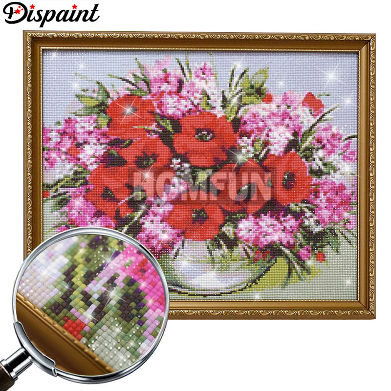 Dispaint Full Square Round Drill 5D DIY Diamond Painting quot Colored flower quot 3D Embroidery Cross Stitch 3D Home Decor Gift in Diamond Painting Cross Stitch from Home amp Garden