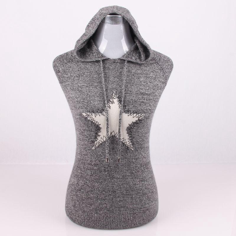 Grande taille 100% cachemire tricot femmes pulls à capuche de mode sweatshirts pull manteau H droite patchwork motif étoile S/90 5XL/125 - 1