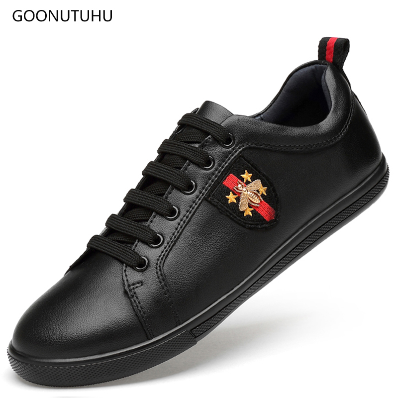 2019 new spring fashion mens shoes casual genuine leather black white big size 12 shoe man young student platform shoes for men2019 new spring fashion mens shoes casual genuine leather black white big size 12 shoe man young student platform shoes for men