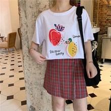 2019 Summer Strawberry lemon Print O-Neck Loose Short-Sleeved Casual Fresh 100% Cotton All-Match Women Tops Pullovers T-shirt