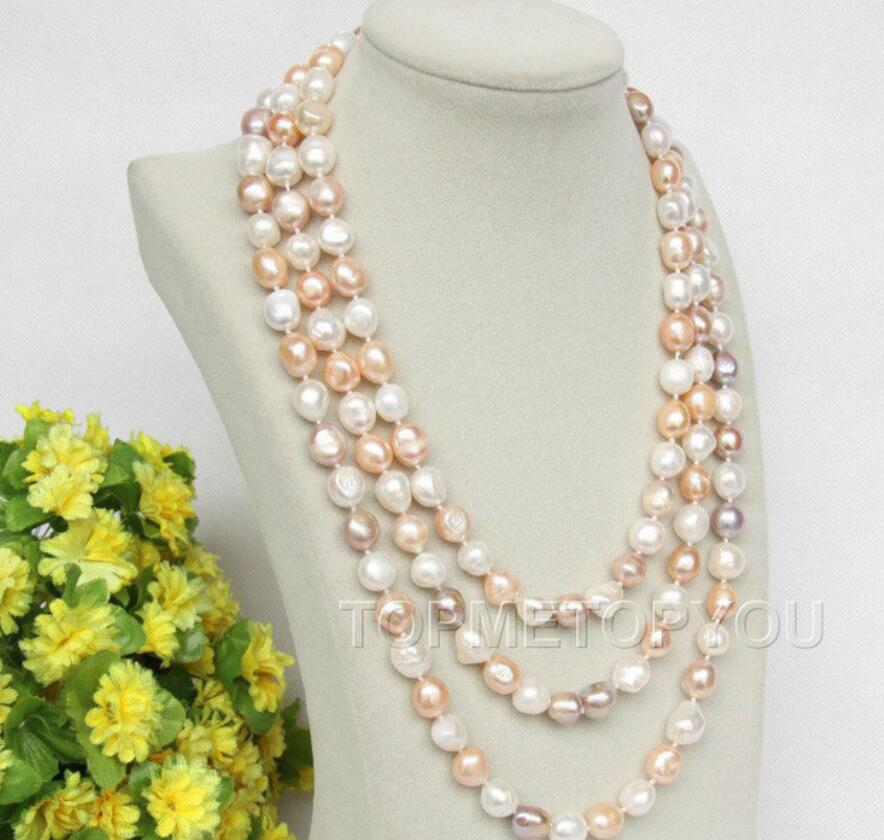 natural 70 8-9mm baroque white pink purple FW pearls necklace Long sweater chainnatural 70 8-9mm baroque white pink purple FW pearls necklace Long sweater chain