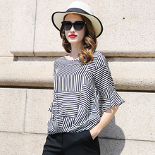 100% Silk Blouse Women Lightweight Fabric Striped Printed Plus O Neck Ruffles Half Sleeves Loose Casual Tops New Fashion 2017