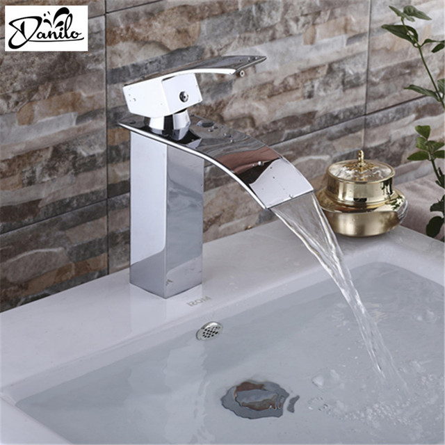 High Quality Brushed Chrome Waterfall Sink Tap Single Handle Single