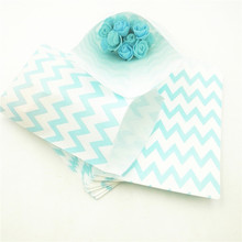 25pcs/set Blue Wavy Lines Stripes Paper Gift Bags Popcorn Party Food Bag Wedding Birthday Supplies Decoration