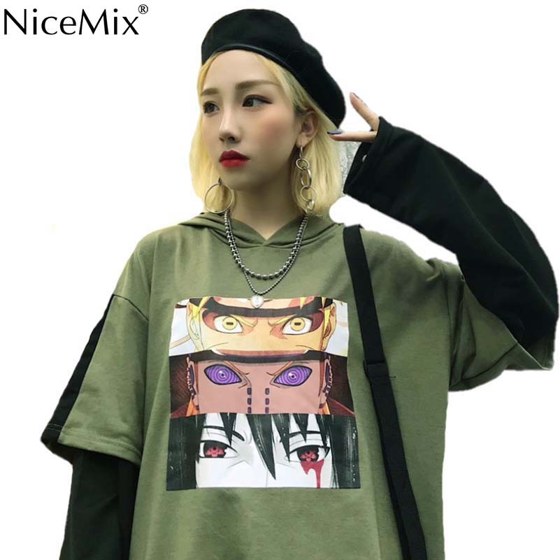 NiceMix Harajuku Sweatshirt Women Patchwork Pullovers Fake 2 Pieces Print Japanese Comics Unisex Jumpers Pull Femme Jersey Mujer in Hoodies amp Sweatshirts from Women 39 s Clothing