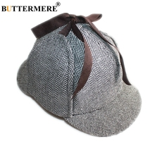 BUTTERMERE Sherlock Men Cap With Ear Flaps Women Holmes Hat Deerstalker Wool Tweed Herringbone Beret Detective