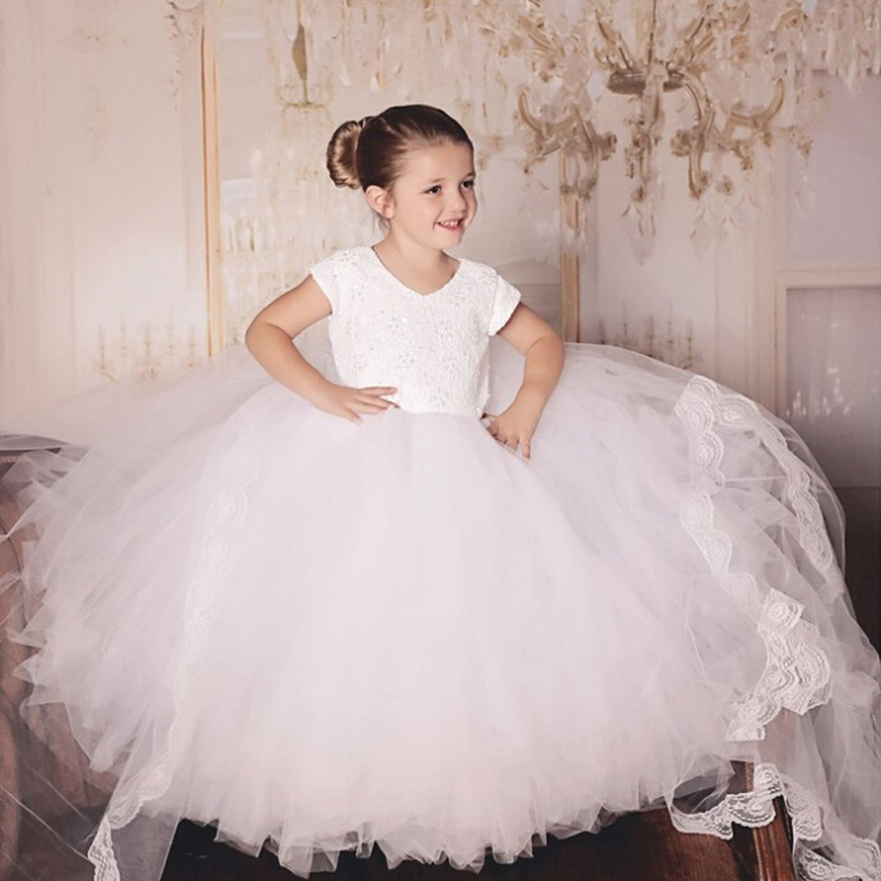 Flower Girl Evening Gowns White Color kid Short Sleeve Mesh and Lace Flower Girl Dresses Soft Ball Gown for Weddings New Arrival