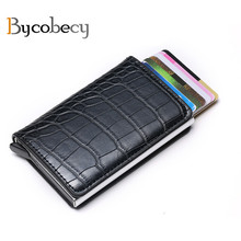 Bycobecy 2019  RFID Card Wallet Credit Holder Men And Women Metal Vintage Aluminium Box Crazy Horse PU Leather Fashion