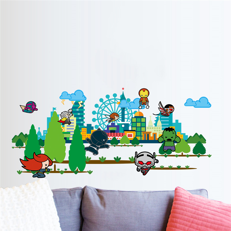 Cartoon Wall Stickers For Kids Rooms Flying Movie Character Superman Hero Wall Decals Boy S Room Decor Bedroom Birthday Gift