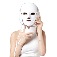 Electric LED Face+Neck Mask 7Color Photon Therapy Skin Rejuvenation Facial Massage Anti Acne Wrinkle Whitening Beauty Instrument