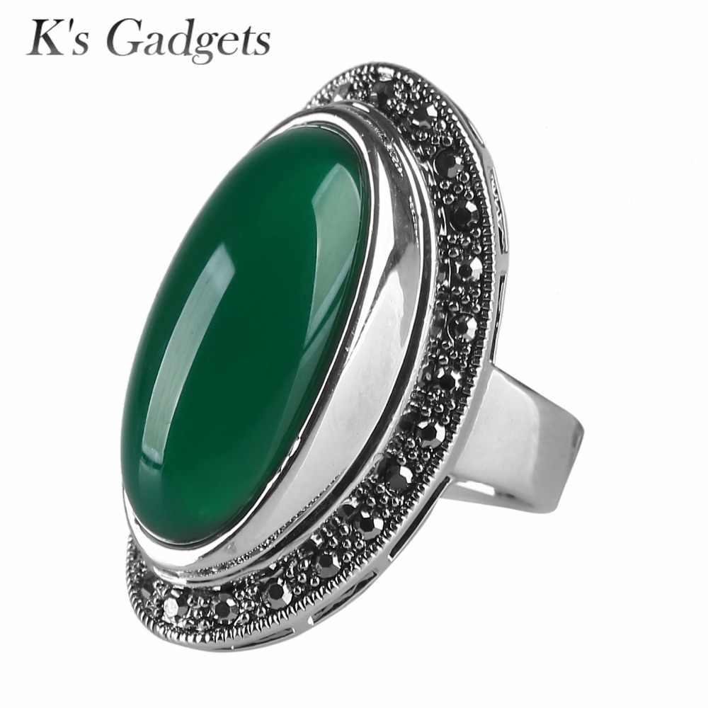 K's Gadgets แฟชั่นหยดน้ำขนาดใหญ่ Vintage เครื่องประดับ Semi-precious หินอินเทรนด์ขนาดใหญ่เรซิ่นหินแหวนผู้หญิง