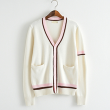 Pink color bars Knitted cotton sweater beige white V-neck long-sleeved cardigan Japan uniform sweater white crew neck v back sweater