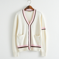 Pink color bars Knitted cotton sweater beige white V neck long sleeved cardigan Japan uniform sweater