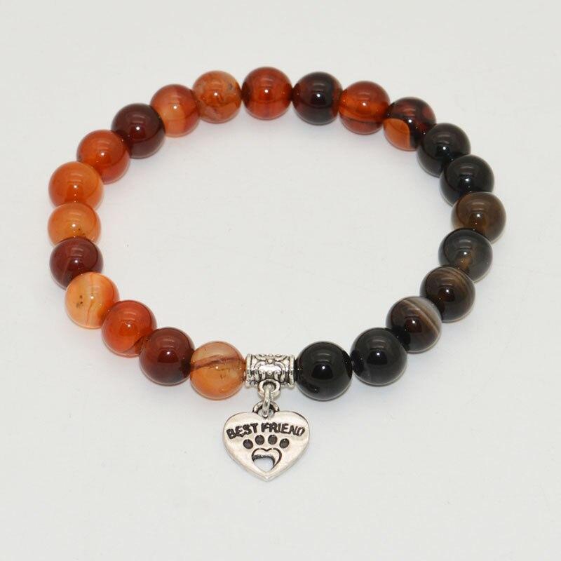 2016 Hot Selling New Design Dog Paw Charm and Dream Stone Bead Bracelets Men Bracelets Women Wrap Jewelry Accessories