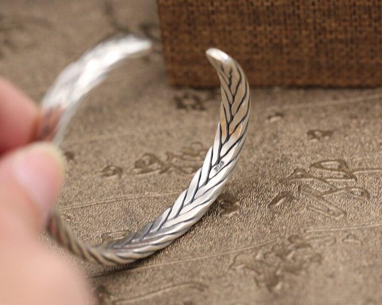 100% Sterling Zilver 925 Weave Manchet Bangle Armband Mannen Vrouwen Medium Eenvoudige Korte Stijl Thain Zilver 925 Vintage Sieraden Geschenken - 5