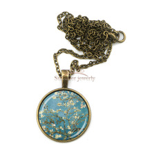 BZA0640 Van Gogh necklace Almond Branch in Bloom art pendant wedding jewelry bridesmaid gift bijoux women jewelry