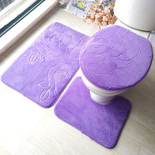 Fashion Non-slip Toilet Lid Cover Bath Mat Rugs Set Carpet for Bathroom and Toilet Seat Cover Floor Mat 3pcs Blue White Purple(China)
